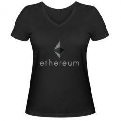 Женская футболка с V-образным вырезом Ethereum