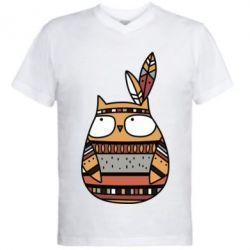 Мужская футболка  с V-образным вырезом Ethnic owl 2