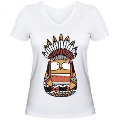 Женская футболка с V-образным вырезом Ethnic owl