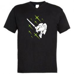 Чоловіча футболка з V-подібним вирізом Evangelion head