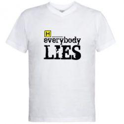Мужская футболка  с V-образным вырезом Everybody LIES House - FatLine