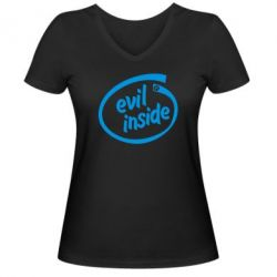 Женская футболка с V-образным вырезом Evil Inside - FatLine