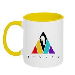 Кружка двоколірна 320ml Evolve logo