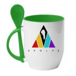 Кружка з керамічною ложкою Evolve logo