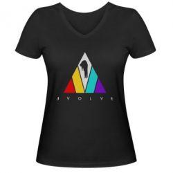 Жіноча футболка з V-подібним вирізом Evolve logo