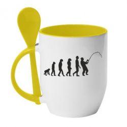 Кружка з керамічною ложкою Еволюція рибалки
