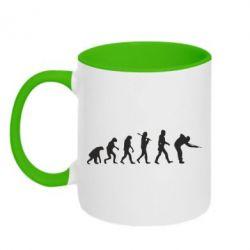 Кружка двухцветная Эволюцию бильярда