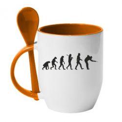 Кружка с керамической ложкой Эволюцию бильярда