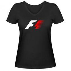 Женская футболка с V-образным вырезом F1