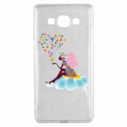 Чехол для Samsung A5 2015 Fairy sits on a flower with butterflies