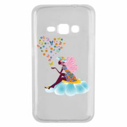 Чехол для Samsung J1 2016 Fairy sits on a flower with butterflies
