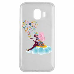 Чехол для Samsung J2 2018 Fairy sits on a flower with butterflies