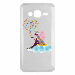 Чехол для Samsung J3 2016 Fairy sits on a flower with butterflies