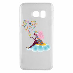 Чехол для Samsung S6 EDGE Fairy sits on a flower with butterflies