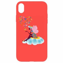 Чехол для iPhone XR Fairy sits on a flower with butterflies
