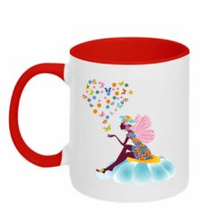 Кружка двухцветная 320ml Fairy sits on a flower with butterflies