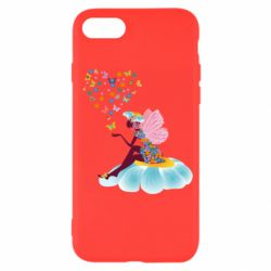 Чехол для iPhone 7 Fairy sits on a flower with butterflies
