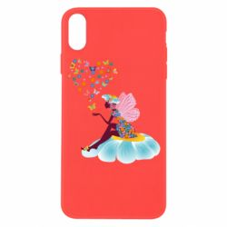 Чехол для iPhone X/Xs Fairy sits on a flower with butterflies