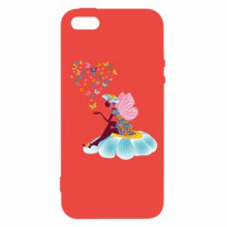 Чехол для iPhone5/5S/SE Fairy sits on a flower with butterflies