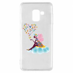 Чехол для Samsung A8 2018 Fairy sits on a flower with butterflies