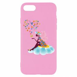 Чехол для iPhone 8 Fairy sits on a flower with butterflies