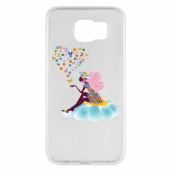 Чехол для Samsung S6 Fairy sits on a flower with butterflies