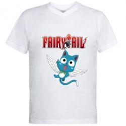 Чоловіча футболка з V-подібним вирізом Fairy tail Happy