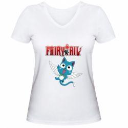 Жіноча футболка з V-подібним вирізом Fairy tail Happy