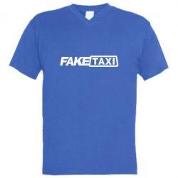Мужская футболка  с V-образным вырезом Fake Taxi Logo