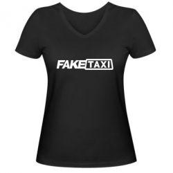 Женская футболка с V-образным вырезом Fake Taxi Logo