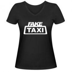 Женская футболка с V-образным вырезом Fake Taxi