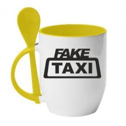 Кружка з керамічною ложкою Fake Taxi