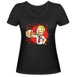 Жіноча футболка з V-подібним вирізом Fallout  boy blood