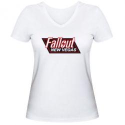 Женская футболка с V-образным вырезом Fallout New Vegas - FatLine