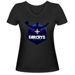 Жіноча футболка з V-подібним вирізом Far cry 5 silhouette Joseph Seed