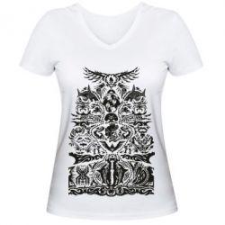 Жіноча футболка з V-подібним вирізом Far cry tattoo