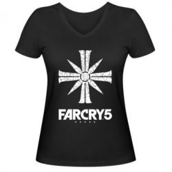 Жіноча футболка з V-подібним вирізом FarCry 5 logo