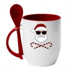 Кружка з керамічною ложкою Fashionable Santa