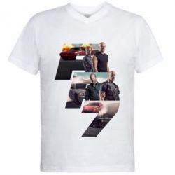 Мужская футболка  с V-образным вырезом Fast & Furious 7