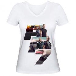 Женская футболка с V-образным вырезом Fast & Furious 7