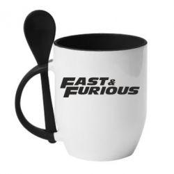 Кружка з керамічною ложкою Fast & Furious
