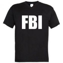 Мужская футболка  с V-образным вырезом FBI (ФБР) - FatLine