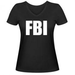 Женская футболка с V-образным вырезом FBI (ФБР) - FatLine
