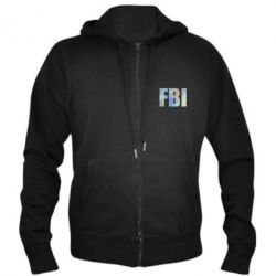 Мужская толстовка на молнии FBI голограмма