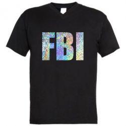 Мужская футболка  с V-образным вырезом FBI голограмма
