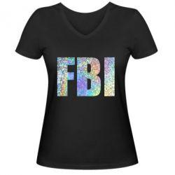 Женская футболка с V-образным вырезом FBI голограмма