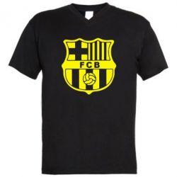 Мужская футболка  с V-образным вырезом FC Barcelona - FatLine
