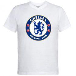 Мужская футболка  с V-образным вырезом FC Chelsea - FatLine