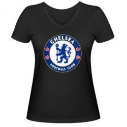 Женская футболка с V-образным вырезом FC Chelsea - FatLine