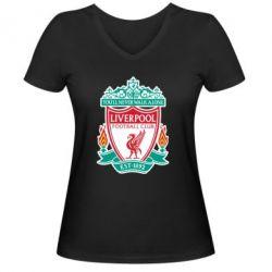 Женская футболка с V-образным вырезом FC Liverpool - FatLine